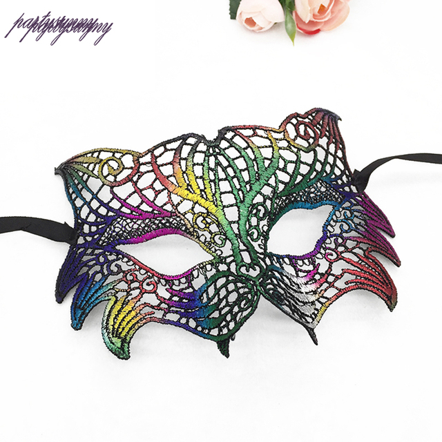 PF Tiger Head Face Mask Colorful Sexy Lady Lace Mask ...