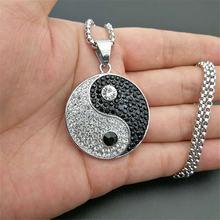 Ожерелье и кулон со льдом Инь Ян с цепочкой из нержавеющей стали