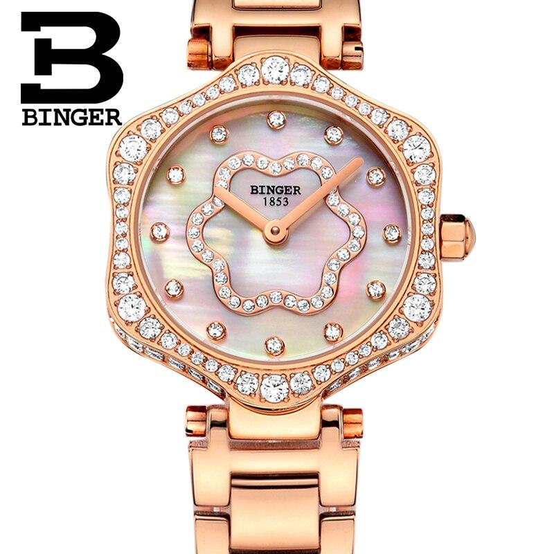 Schweiz BINGER frauen Uhren Luxus Marke Quarz Wasserdichte Uhr Frau Sapphire Uhr Diamant relogio feminino B1150 3 - 4