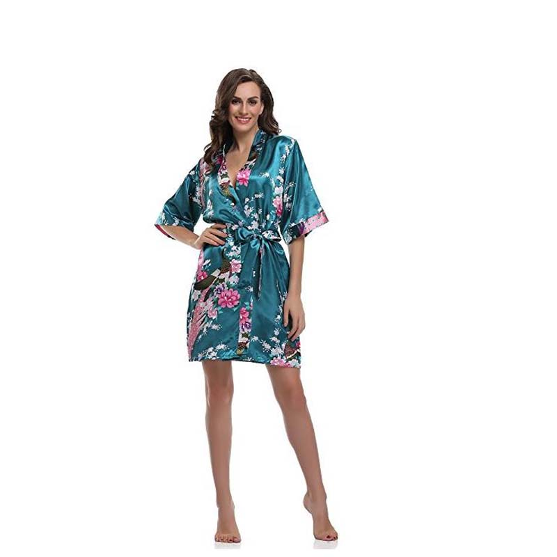 Sexy Mini Drak Green Lady Summer Bath Robe Gown Silk Rayon Kimono Yukata Bridesmaid Robe with Peacock and Blossoms D124-05