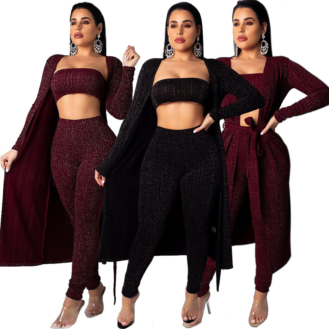 Sexy 3 Piece Set Women Clothes Fall Winter High Stretch Outfits Long Cardigan Cloak+Tank Top+Pencil Pants Suit