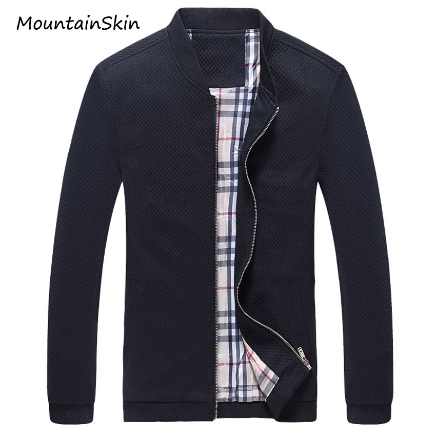 Mountainskin Men s Jacket Autumn Bomber Jackets Male Slim Fit Solid Branded Clothing Casual Coats Cotton