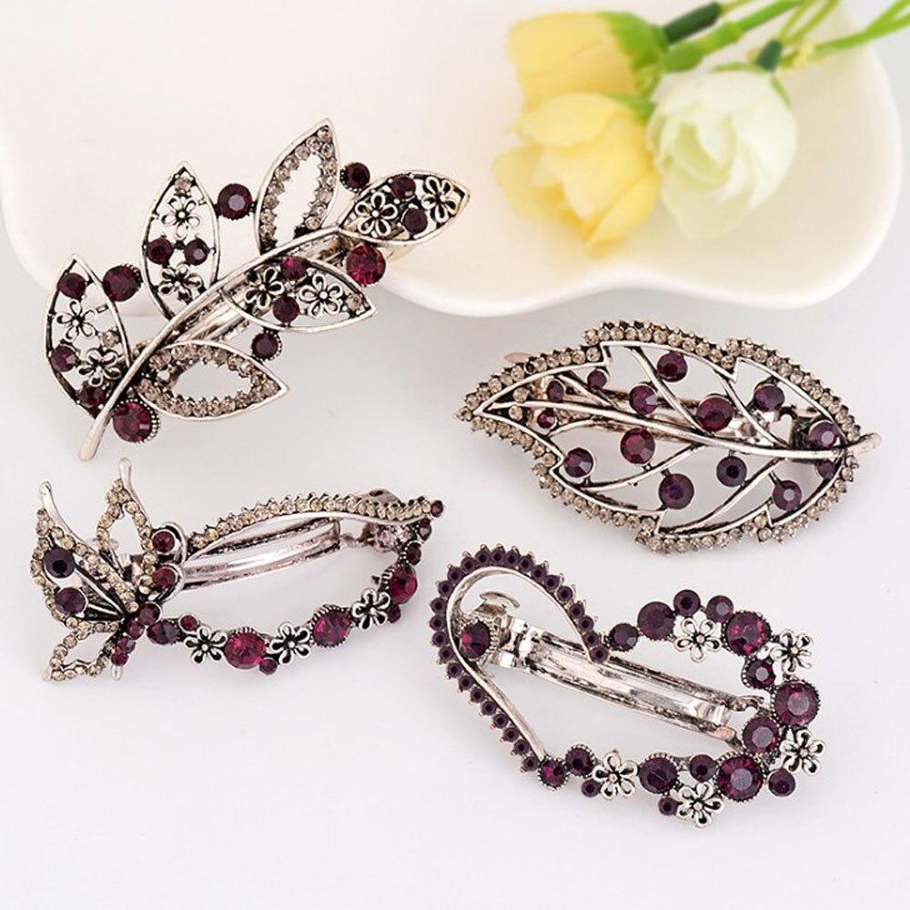 1PC Vintage Women Girls Womens Crystal Rhinestone Hair Clip Crown Butterfly Leaves Hairpin Tiara Barrettes Hair Accessories