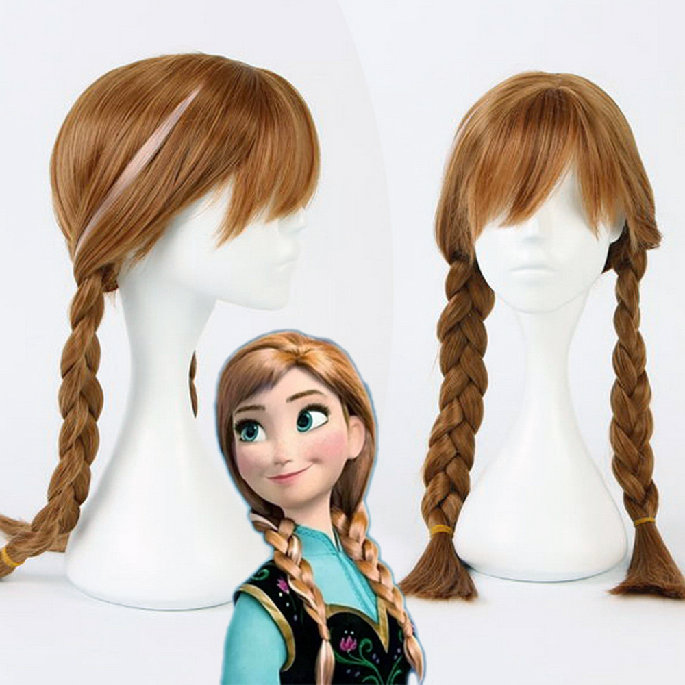 Disney Frozen Anna Girl/'s Brown Braided Pigtails Wig Tiara Wand Gloves Sets