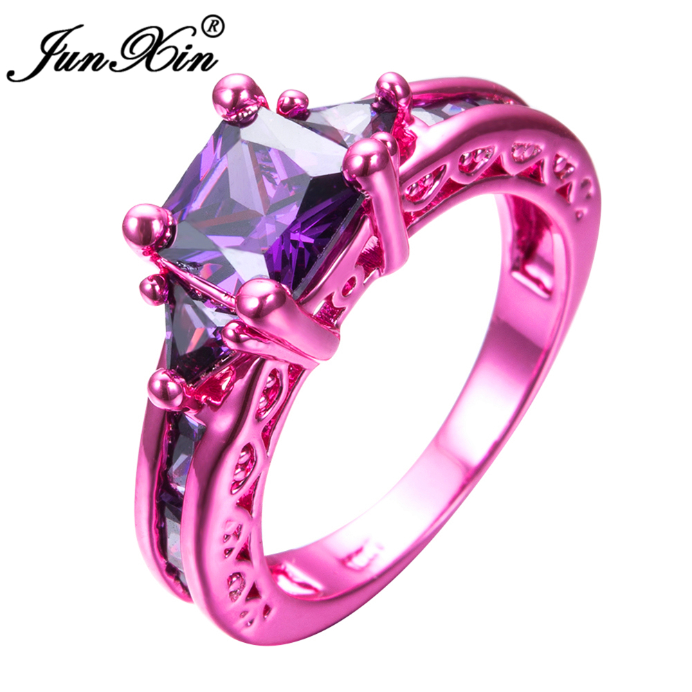 JUNXIN Retro Female Girl\'s Purple Geometric Ring Pink Gold Filled ...