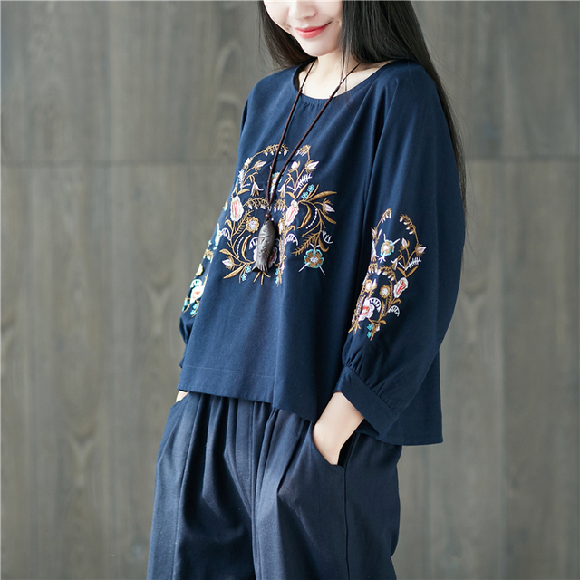 ae15a9f8beb0 Chinese Style Camisas Ethnic Vintage Retro Hippie Boho Bohemian Cotton  Linen Floral Embroidery Women Blouse Shirt Ladies Tops