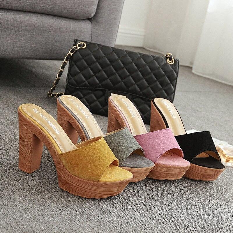 Wooden Block heel slippers ladies