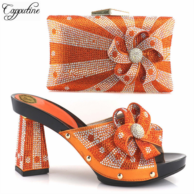 Capputine Hot Selling Nigerian High Heels Woman Pumps Sandals Shoes And Bag Set Italian Style Party Shoes And Bag Set For Dress capputine new arrival woman shoes and bag set nigerian design high heels shoes and bag sets for party free shipping bch 40