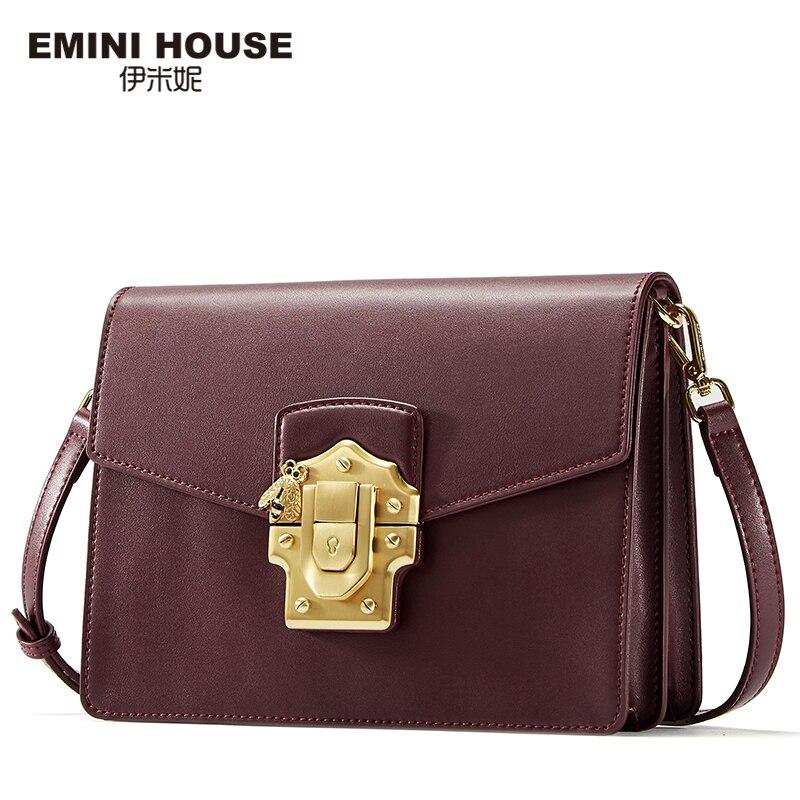 EMINI HOUSE Fashion Padlock Flap Bag Split Leather Women Bag Women Leather Handbag Women Messenger Bags Crossbody Bags for Women chanel boy flap bag
