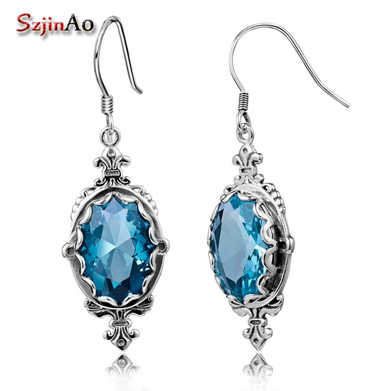 Szjinao 925 Sterling Silver Earrings Fashion Oval Cut Aquamarine Vintage Jewelry Pure Silver Big Earrings For Women Party PunkSzjinao 925 Sterling Silver Earrings Fashion Oval Cut Aquamarine Vintage Jewelry Pure Silver Big Earrings For Women Party Punk