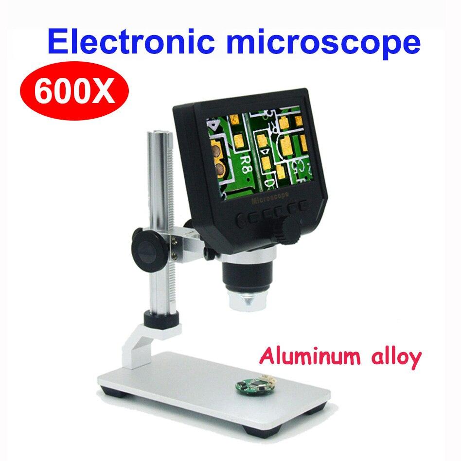 600X цифровой микроскоп электронный видео микроскоп 4,3 дюймов HD lcd паяльный микроскоп телефон Ремонт лупа+ металлическая подставка - Цвет: Aluminum alloy stand