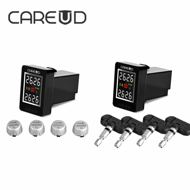 CAREUD Wireless Tire Pressure Monitoring System U912 TPMS Cars Auto with 4 Sensors LCD Display Embedded Monitor For Toyota 2017 50% off careud u912 tpms car tire pressure wireless monitoring system 4 external sensors lcd display embedded monitor for honda
