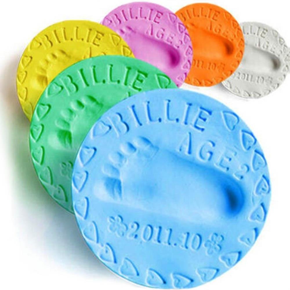 Baby Care Air Drying Clay Baby Handprint Footprint Imprint Kit Casting Parent-child Hand Inkpad Fingerprint Soft Clay