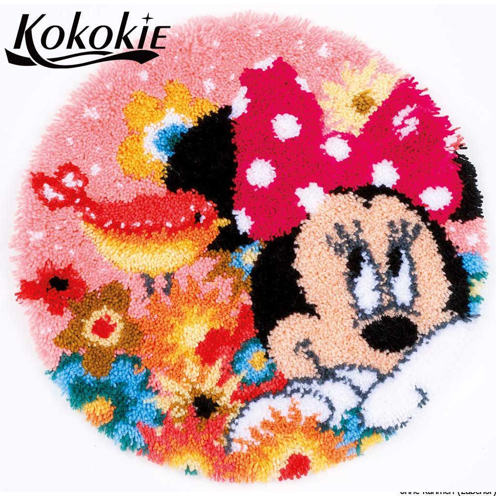 Diy tapijt סורגת חוט רקמת מחט עבור שטיח וו בריח שטיח קריקטורה סגנון הדפסת vloerklee handwerken knooppakket