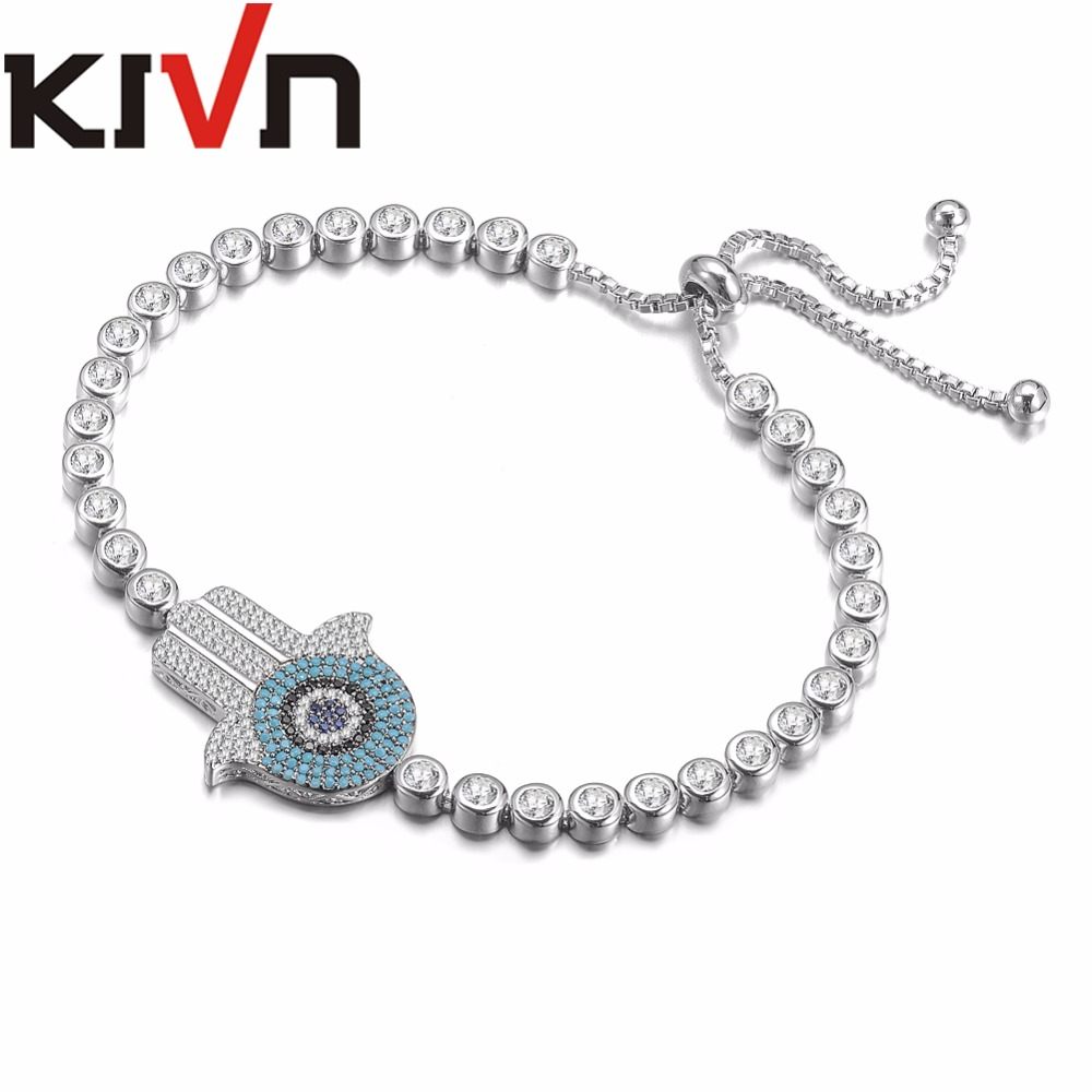 KIVN Fashion Jewelry Adjustable Hamsa Hand Blue eye Pave CZ Cubic Zirconia Womens Girls Wedding Bridal Bracelets Birthday Gifts