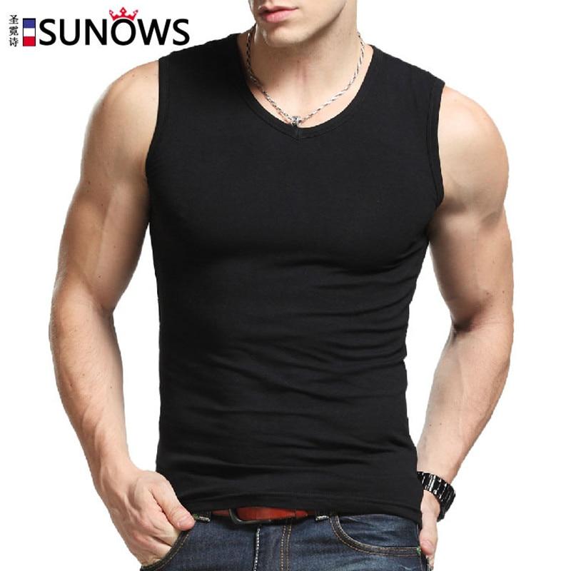 Mens Brand Broad Shoulders Summer Vest Cotton O Neck And V