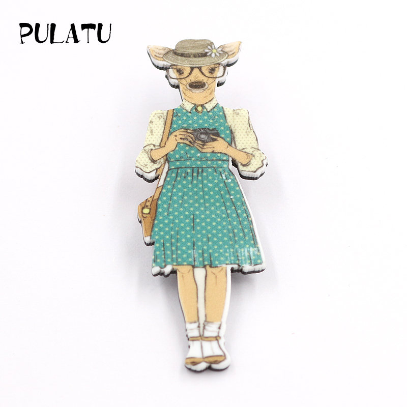 PULATU Womens Auntie Deer Brooches Cartoon Acrylic Printed Brooch Pins Boys and Girls Clothing Bag Jewelry Accessories XZ0892