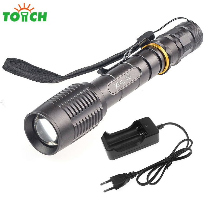5 Mode Led Zoomable Torch Powerful Long Range Searchlight Portable Handheld Flashlight Cree xml Rechargeable Flash Light Lamp 6000lumens bike bicycle light cree xml t6 led flashlight torch mount holder warning rear flash light