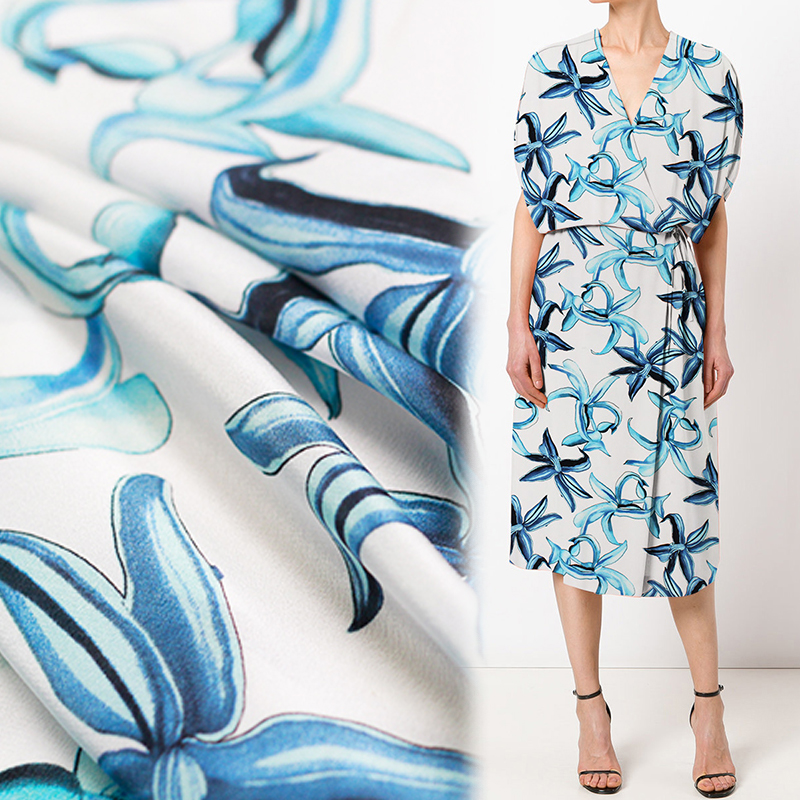 12momme 114cm width blue greenish lily flower printed 100%mulberry silk crepe de chine summer dress shirt clothing fabric