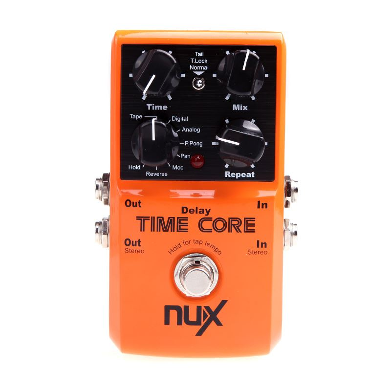 NUX Time Core  Guitar Effect Pedal Deluxe Multi Guitar Effect Pedal True Bypass Design Aluminum Alloy Housing 7 Delay Effects mooer ensemble queen bass chorus effect pedal mini guitar effects true bypass with free connector and footswitch topper