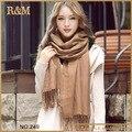 Nova moda 2016 cachecol senhoras do Vintage cor sólida marrom lenços Warp xale