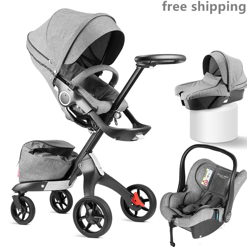 Poussette bébé 3 en 1 haute visior paysage landau avec lit de transport et siège auto