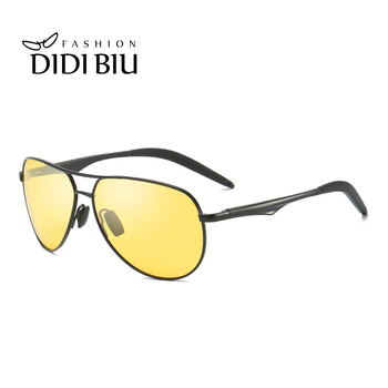Night Vision Yellow Sunglasses Polarized Men Classic Aviation Glasses Aluminium Frame Sun Glasses Driving Goggles Oculos HN1031
