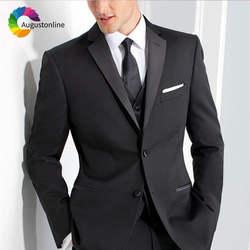 Классические брюки черный жених смокинг для Для мужчин Slim Fit Best Man пиджаки из 3 предметов пиджак брюки жилет женихов Для мужчин смокинг