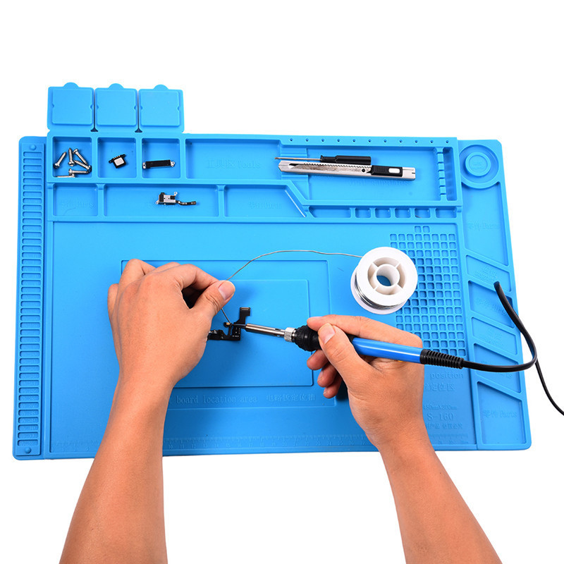S-160 Heat Insulation Silicone Pad Desk Mat Maintenance Platform for BGA Soldering Repair Station with Magnetic Section 45*30cm s 160 45x30cm heat insulation silicone pad desk mat maintenance platform for bga soldering repair station with magnetic section