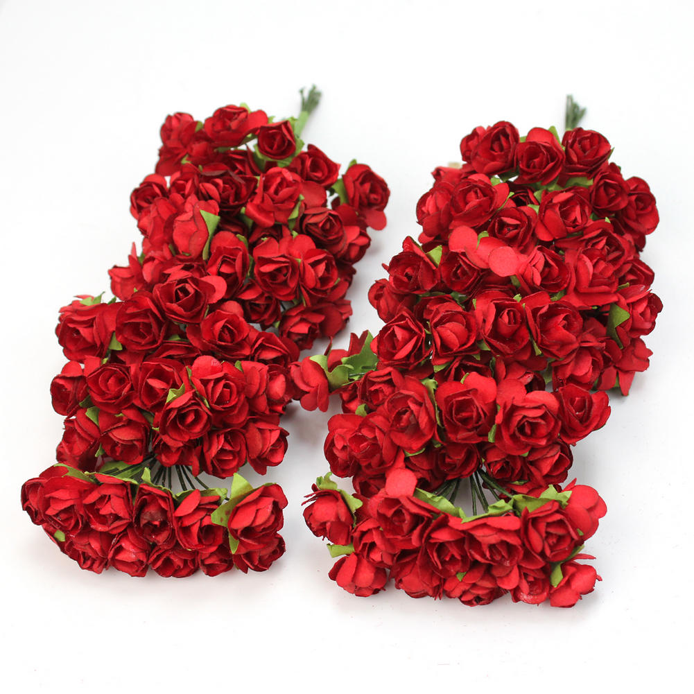 Online Shop Hot 144 X Red Chic Mini Artificial Paper Rose Flower