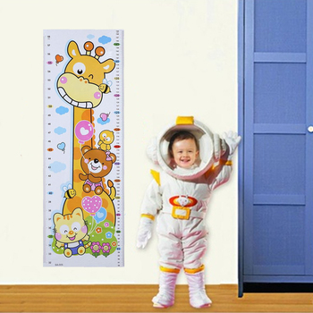 Cartoon PVC Kids Height Chart Wall Sticker For kids rooms-Free Shipping For Bedroom For Kids Rooms