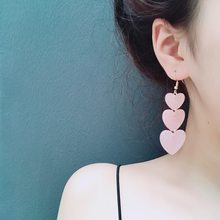 2019 Real Earings Pendientes E1144, Japan And South Korea Girl Love Earrings Hearts Wind Laminated Sweet Female Heart-shaped(China)