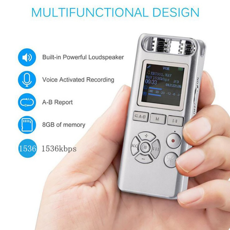 8GB Clip USB MP3 Player Voice Activated Digital Audio Voice Dictaphone Recorder Pens Stereo Recording Audio Recorders 2 Color