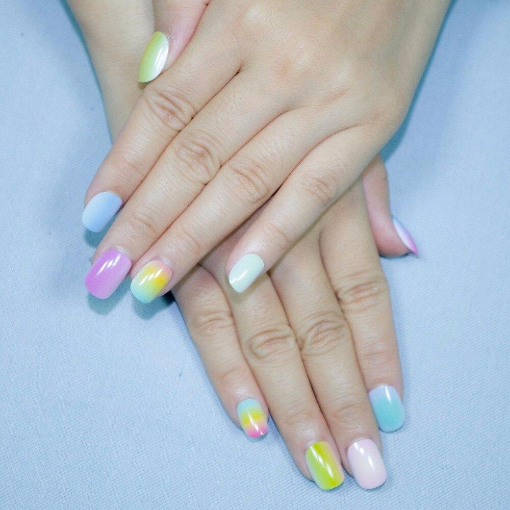 Christmas Style Gradient Color Rainbow Kits False Nails 20 Pcs Pre ...