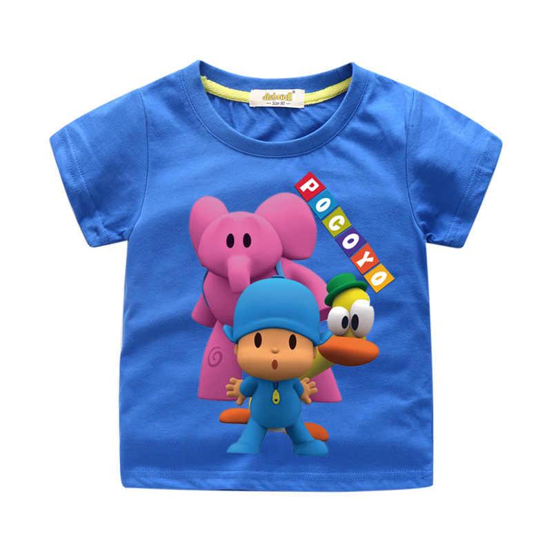1-13 anos Camisa Do Menino Meninas Verão Dos Desenhos Animados Pocoyo 3D T-shirt Engraçado Para Crianças Curto Tee Tops Roupas Crianças tshirt Roupas WJ022
