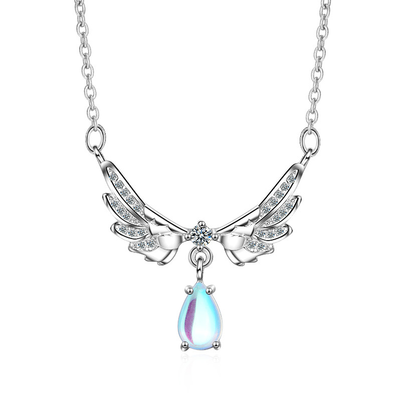 100 925 sterling silver fashion angel wing shiny crystal birthday gift ladies 39 short chain necklaces wholesale women jewelry in Chain Necklaces from Jewelry amp Accessories