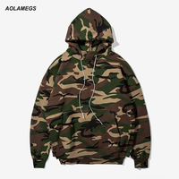 Aolamegs Men Hoodies Sweatshirts Fashion Army Green Camouflage Hooded Pullover Short In Front Long High Street
