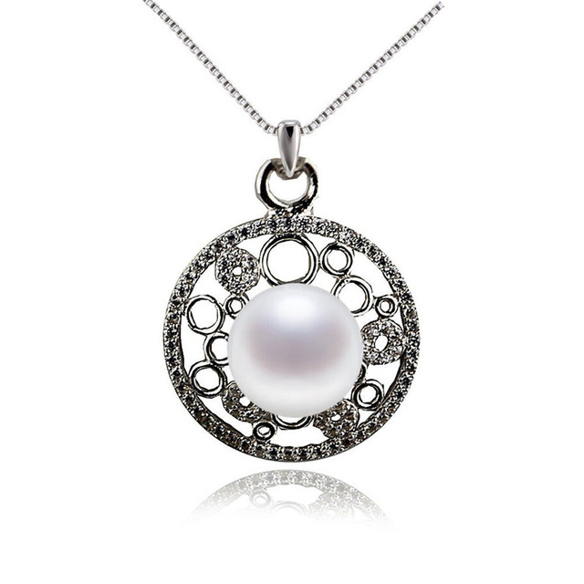 SNH 100% 925 sterling silver genuine freshwater pearl pendant necklace AAA natural 9mm button white real pearl jewelry
