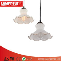 Lampplus American Style Vintage Retro Morning Glory Decorative Pendant light Droplight Ceiling lamp Iron Painted Frosted Glass