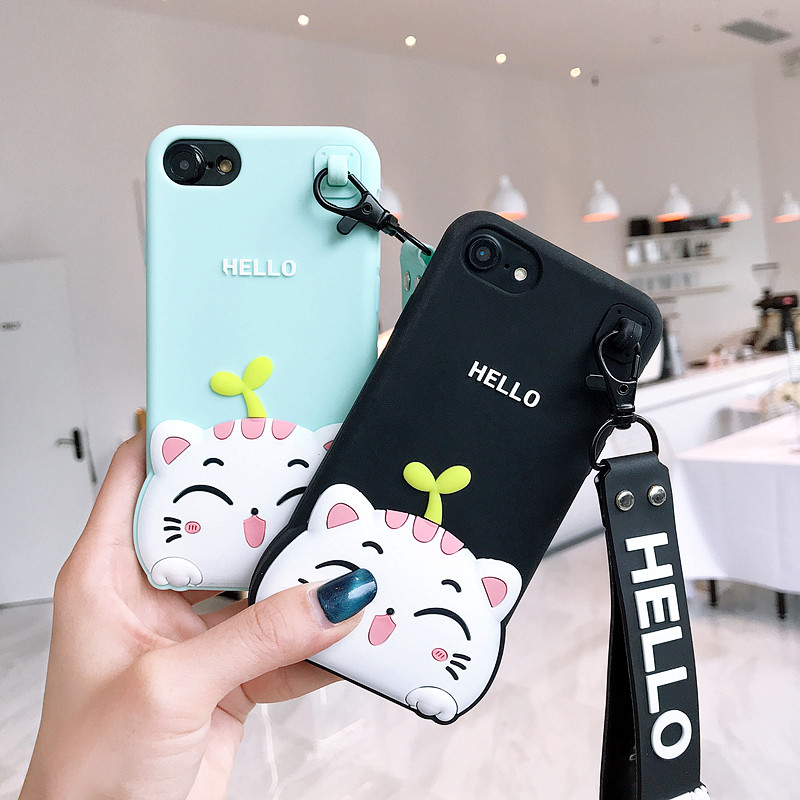 3D Cartooon Hello Cat Phone Iphone 6 7 8 Plus X 5 5 5SE Soft Silicone Back Cover Fundas With Hand Rope