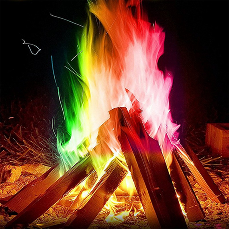 Magic Fire Colorful Flames Powder Bonfire Sachets Pyrotechnics Magic Trick Camping Equipment Survival Tools Kamp Malzemeleri