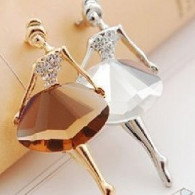 1PCS Girl Fashion Glamour Beautiful Princess Ballerina Brooch Crystal Pin Jewelr