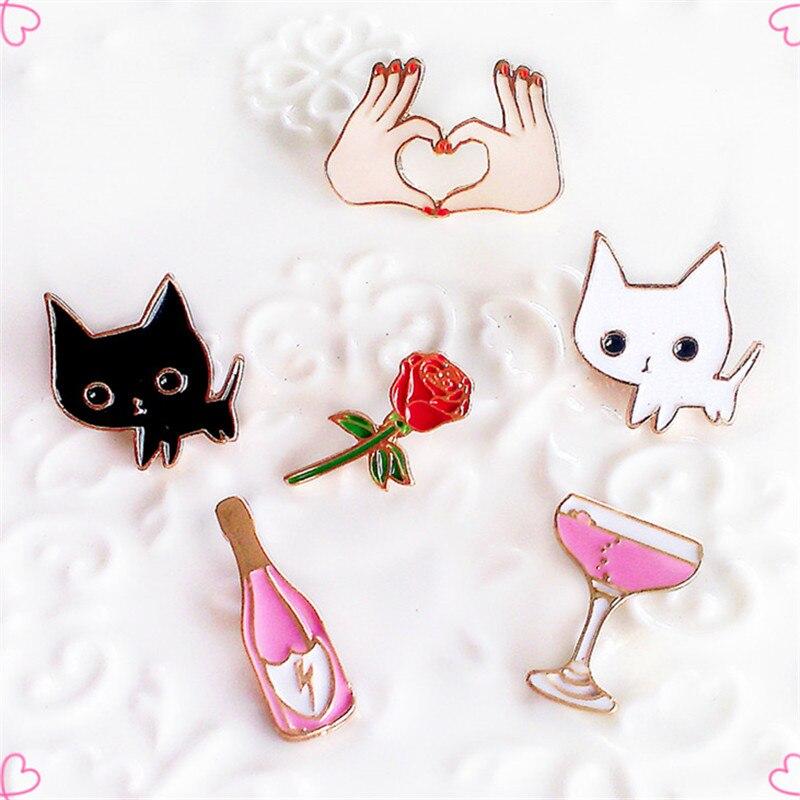 Roupas acessórios acessórios pequeno branco e preto casal viagem de lua de mel da flor do coração Do gato Um broche broche