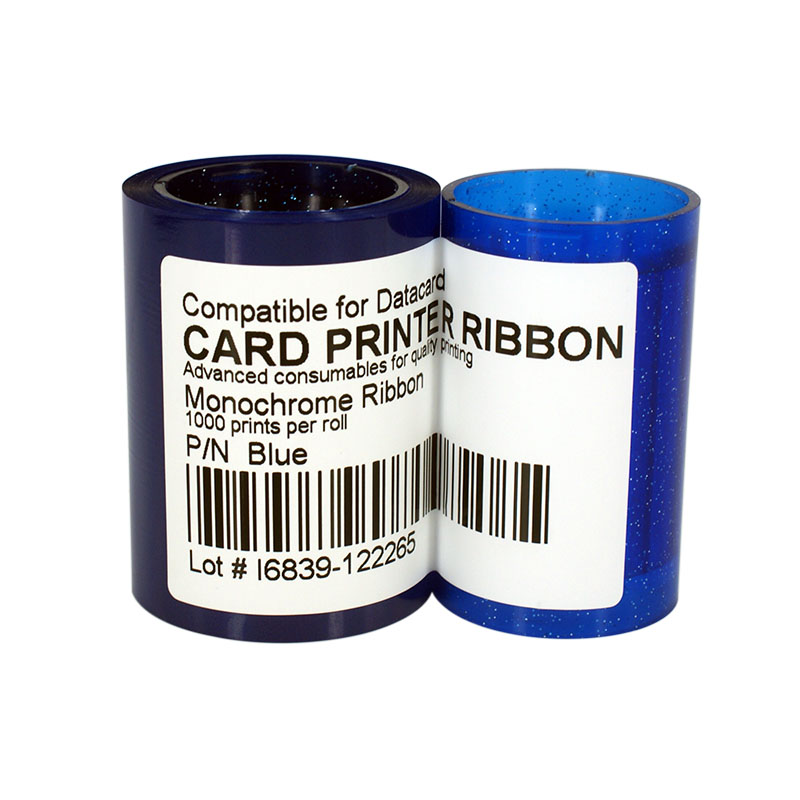 Printer Ribbon DC285B Blue Color Ribbon 1000prints/roll For Datacard SP25 SP30 SP35 SP55 SP75 CP40 CP60 CP80 original printer ribbon 800012 445 625 prints roll ymck ribbon for zebra 800012 445 for zxp series 8 zxp8 card printer