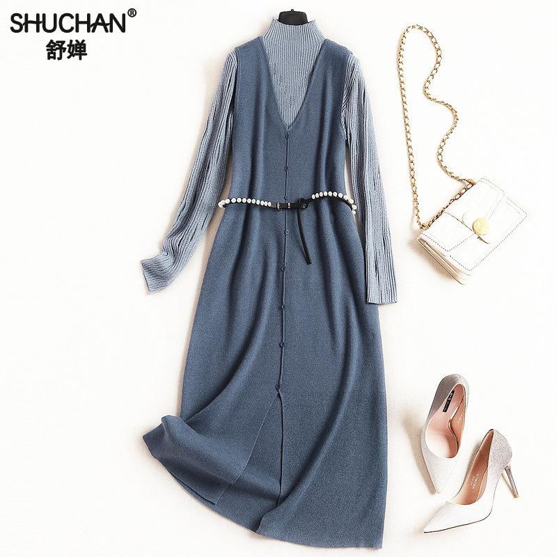 Shuchan Roulé Femmes Robe Chic 8234 Set Des Vêtements Pour Tricoté Pull  8234 8234 Mi Costume Réservoir Prairies mollet Col rBqrnAx 3cf6c19170a1