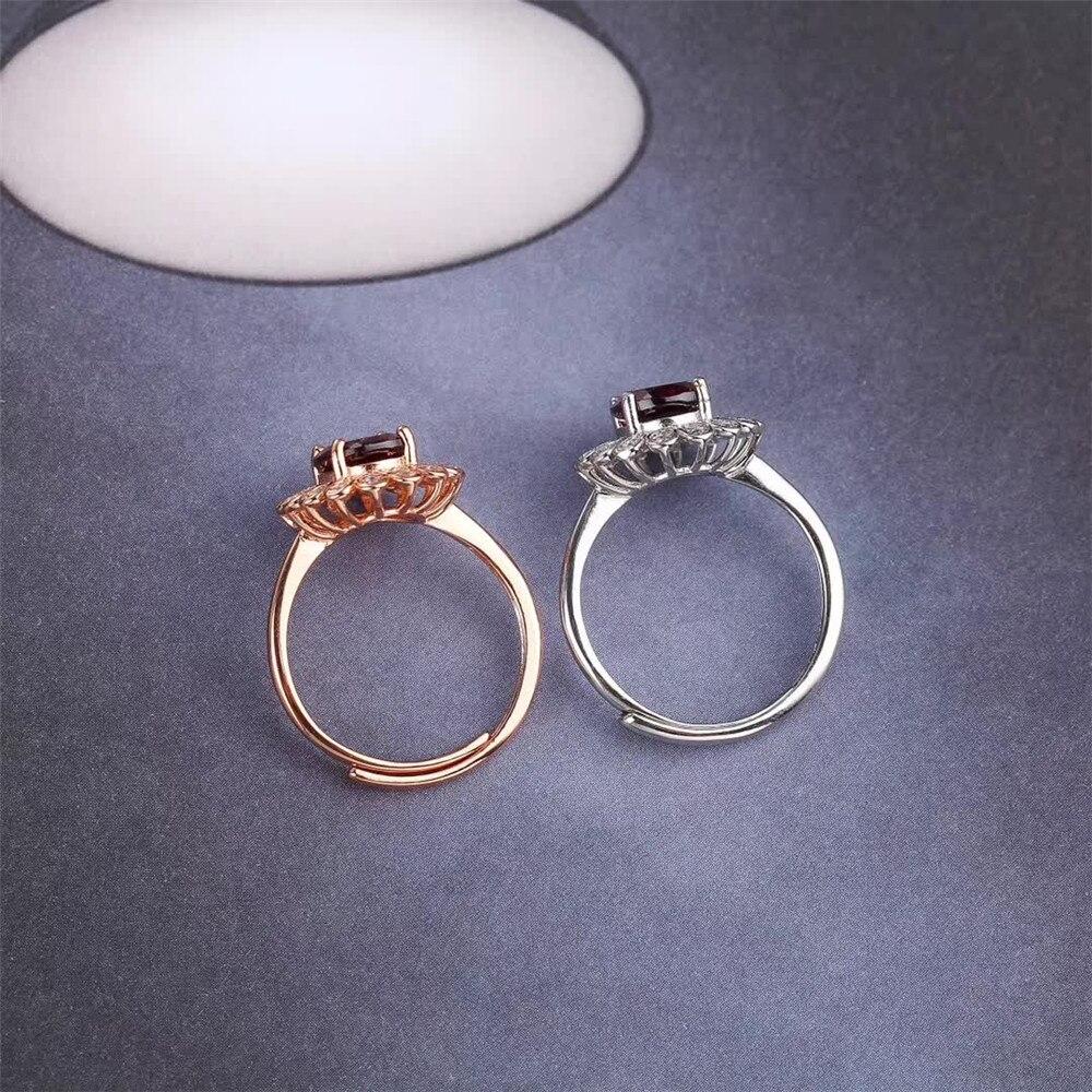 Boucles d'oreilles à la mode en argent sterling 925 naturel grenat rouge collier pendentif bague ensemble de bijoux pour mariage de fiançailles femme - 6