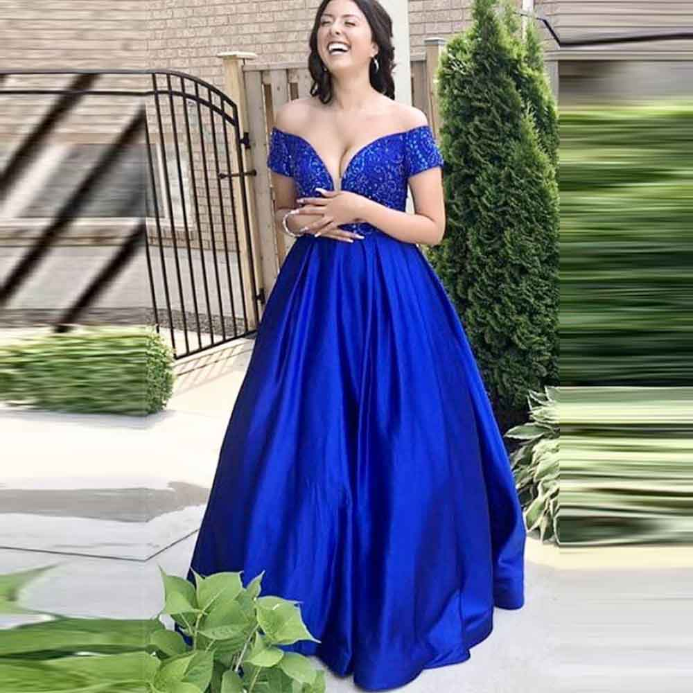 Angel Married Off Shoulder Short Sleeves Beaded Satin Ball Gown   Prom     Dresses   Royal Blue Long Formal Gowns Evening   Dresses   2019