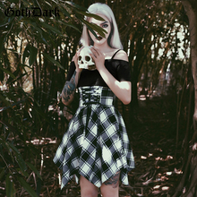 Goth Dark Grunge Gothic Plaid Female Dresses Harajuku Patchwork Strap Slash Neck Dress Vintage Asymmetrical Autumn 2019 Fashion