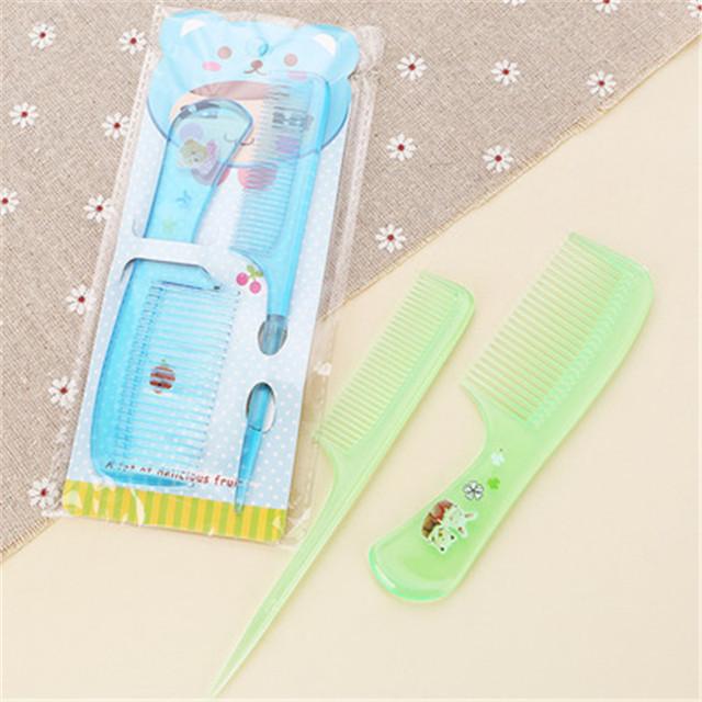 Baby 2Pcs/Set Brush Comb Cute Boy Girl Kids Gentle Soft Hair Brush Comb Set Newborn Babies Plastic Anti-static Cartoon Comb Sets