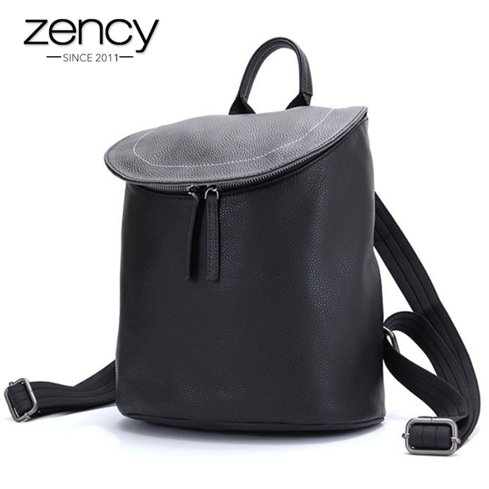 Zency Bucket Type Women Backpack 100 Genuine Leather Classic Black Knapsack Daily Casual Travel Bags Girls